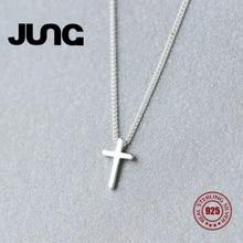 Фотография Jung Fashion Sweet Cross Personality 925 Sterling Silver Jewelry Beautiful OL Pendant Necklace Women Collier Choker Collar