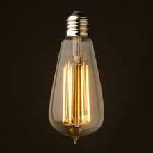 4W 6W 8W,Vintage LED Long Filament Bulb,Super Warm,Edison ST64 Clear Style,Decorative For Pendant Lamp,Dimmable