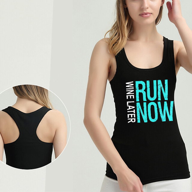 Lei SAGLY WINE LATER RUN NOW Funny Women Sleeveless Tank Tops Female Raceback Running Vest Women Sports Clothes Summer Tops