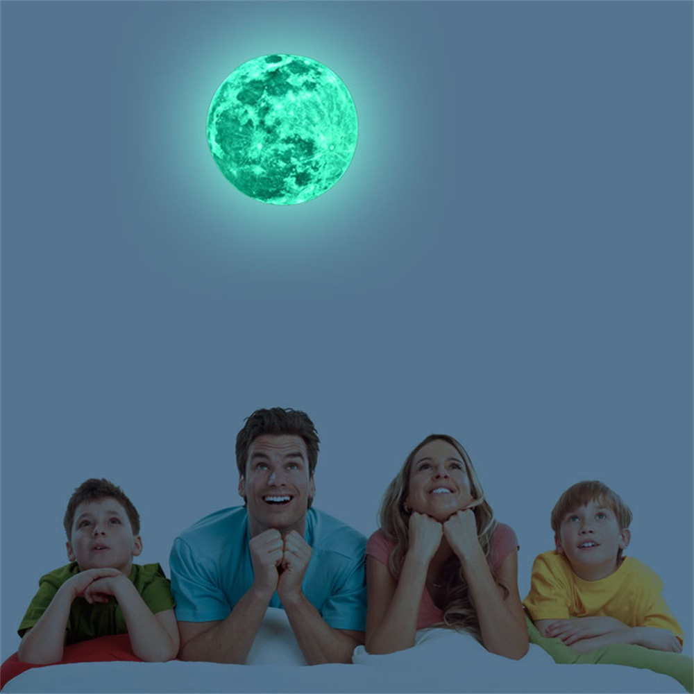 3d 5//12//20cm Luminous Moon Glow In The Dark Home Decor Wall Waterproof Stickers