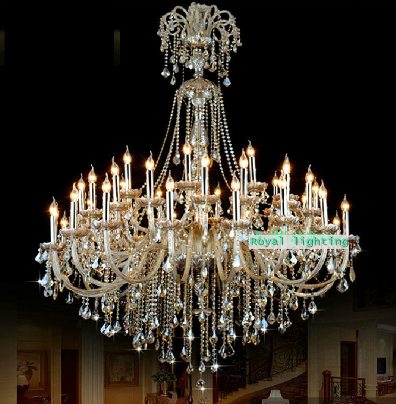 Big Vast 45 pcs led chandeliers for Duplex building ballroom church XL Great large retro cognac crystal glass chandelier lustres