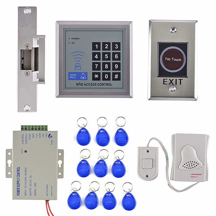 RFID Access Control System Full Kit Set + Electric Strike Door Lock+ NO Touch Switch+ Power Supply monbento соусница с крышкой mb temple средняя 28 мл 5х3 5 см белая голубая