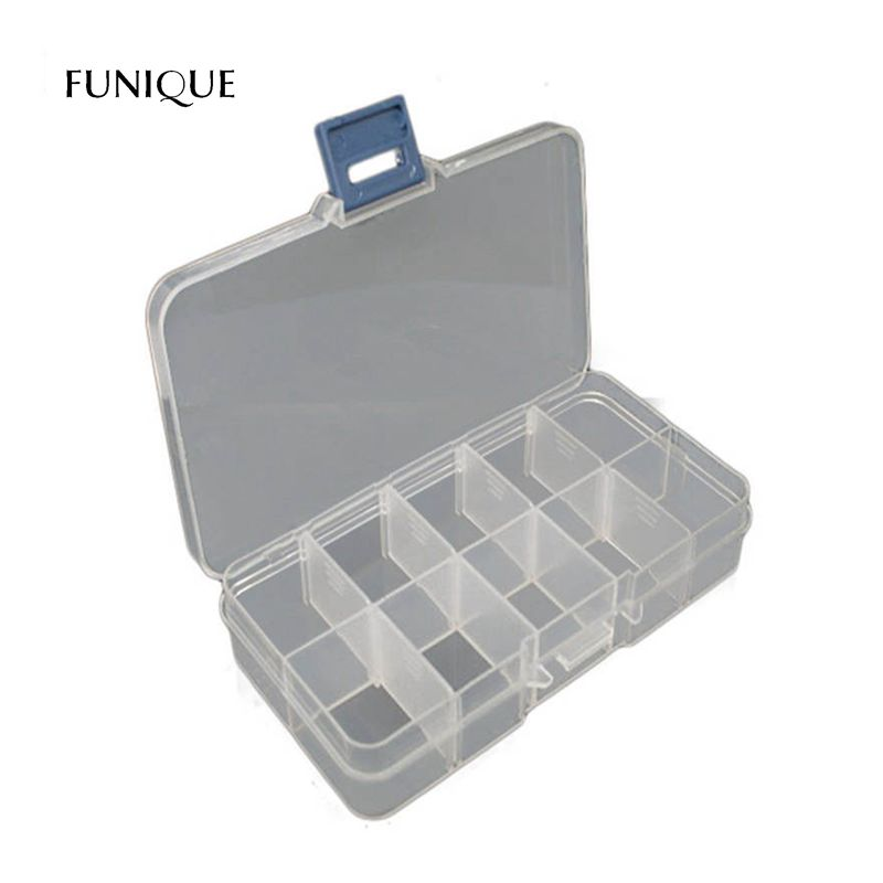 FUNIQUE Practical Adjustable Plastic 10 Compartments Storage Box Case For Beads Rings Jewelry Display Organizer Holder