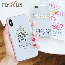 FLYKYLIN Funny Cartoon Phone Cases For iPhone X Case For iphone 6S 6 7 8 Plus Cover Lovely Mouse Cases Ultra thin Soft TPU Coque