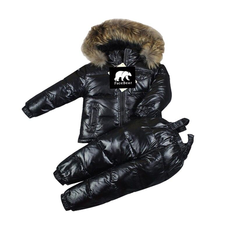 Зимняя детская одежда для русской зимы 30 комплекты одежды для малышей на 90% утином пуху, куртка + пуховые штаны красные детские зимние комбинезоны для мальчиков, верхняя одежда