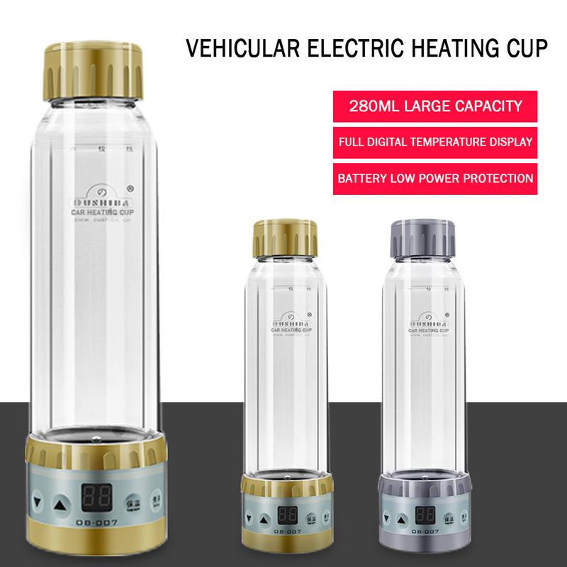 280ML Stainless Steel Water Heater Car Kettle Portable Auto 12V Hot Warmer Pot Heating Mug for Tea Coffee Cigarette Lighter