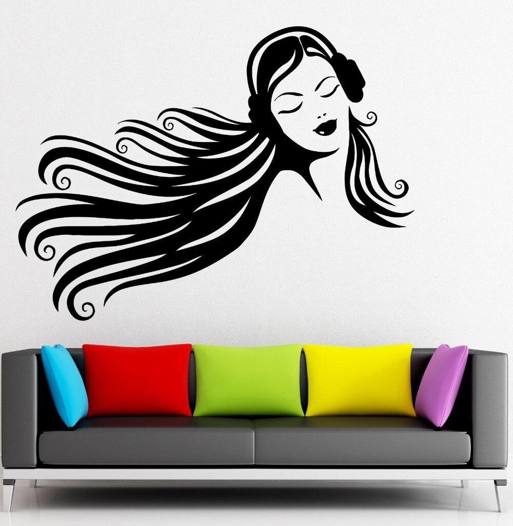 660174d06 سماعات الموسيقى ملصقات الحائط التين فتاة جميلة ديكور الفينيل صائق الشحن  مجانا