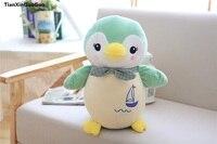 Yaklaşık 35 cm güzel yeşil penguen yaratıcı peluş oyuncak papyon penguen pamuk yumuşak bebek atmak yastık doğum günü hediyesi s0971