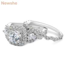 Newshe 2 Pcs Genuine 925 Sterling Silver Halo Wedding Ring Sets Engagement Band Gift Jewelry For Women Size 5-10