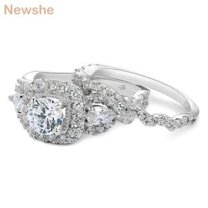 Image 4 - Newshe 2 Pcs Halo 925 Sterling Silver Wedding Rings For Women 1.5 Ct Round Pear Cut AAA CZ Classic Jewelry Engagement Ring Set