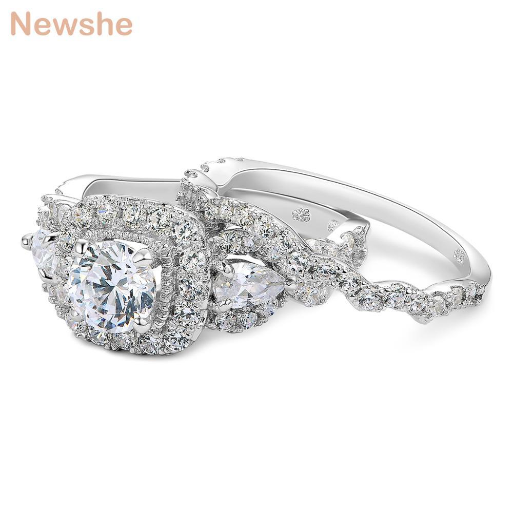 Newshe 2 st Halo 925 Sterling Silver Bröllop Ringar För Kvinnor 1.5 - Märkessmycken - Foto 4