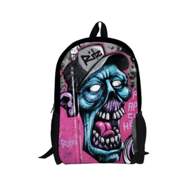 Preppy Primary Kids School Bag Cool Hip Hop Graffiti Children Schoolbag Skull Boy Book Bag Fashion Men Backpack Mochila Infantil
