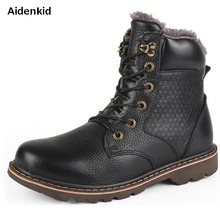 Aidenkid Autumn & winter models Plus velvet warm Cowhide round head mens Martin boots casual boots Outdoor Working Boots