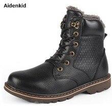 Aidenkid, modelos de otoño e invierno, más terciopelo cálido, piel de vaca, cabeza redonda, botas Martin para hombre, botas casuales, botas de trabajo exterior