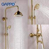 GAPPO Bronze Shower Faucet Antique Bathroom Tap Mixer Waterfall Bath Shower Head Wall Mount Bathroom Mixer