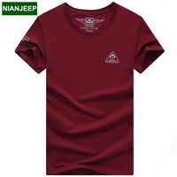 New 2017 Summer NIANJEEP Brand Cotton Men S T Shirt Male Short Sleeve T Shirts Solid