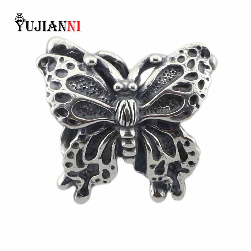 Butterfly Beads 925 Sterling Silver Charms DIY Jewelry Making Pendant Fit Original Troll Bracelet Necklace