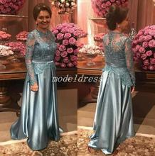 Long Sleeve Sweep Train Appliques Formal Women Mother Wedding Prom Party Gowns 2018 Gray Of The Bride Dresses