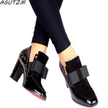 AGUTZM New 100% REAL PHOTO high heels pumps square toe genuine leather shoes women ladies black Sexy chaussure femme 34-44