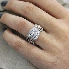 Новинка, высокое качество, кристалл, серебряный цвет, свадебные кольца для женщин с розовым золотом, Роскошные, полный циркон, двухцветное кольцо, ювелирное изделие