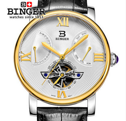 Relogio masculino Luxury Binger Brand Leather Stainless Steel Analog Display Date Men's Watch Casual Watches Men Wristwatch original binger mans automatic mechanical wrist watch date display watch self wind steel with gold wheel watches new luxury
