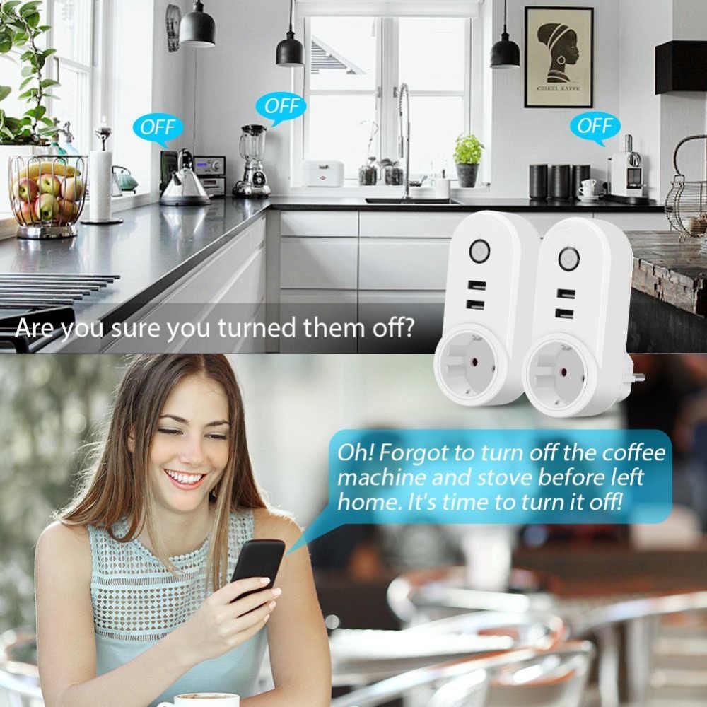 WiFi Smart EU gniazdo wtykowe bezprzewodowe z 2 gniazdo usb pilot WiFi sterowanie przełącznik czasowy wylot czasowy zasilanie solarne do użytku domowego urządzenia 3