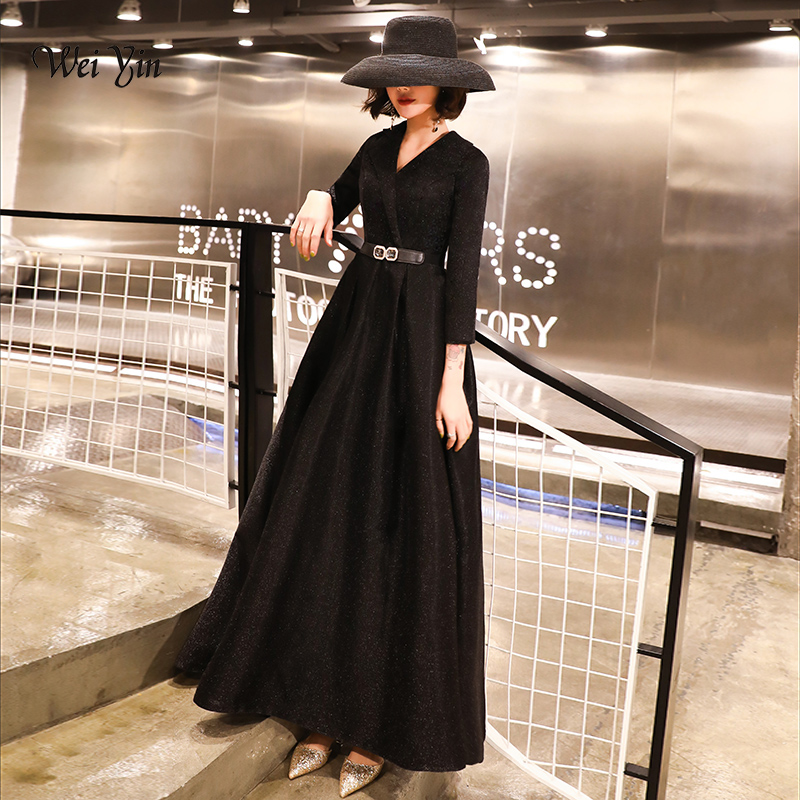 Wei Yin Robe De Soiree Evening Dress 2020 Black V Neck Long Sleeve Formal Party Evening Dresses Gown Long Vestido De Festa W1537