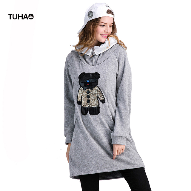 6c66456513c TUHAO Sequins Cartoon Bear Long Velvet Loose Plus Size Fleece Hoodies Women  Tops Zipper Up Hooded Sweatshirts For Ladies TBC001