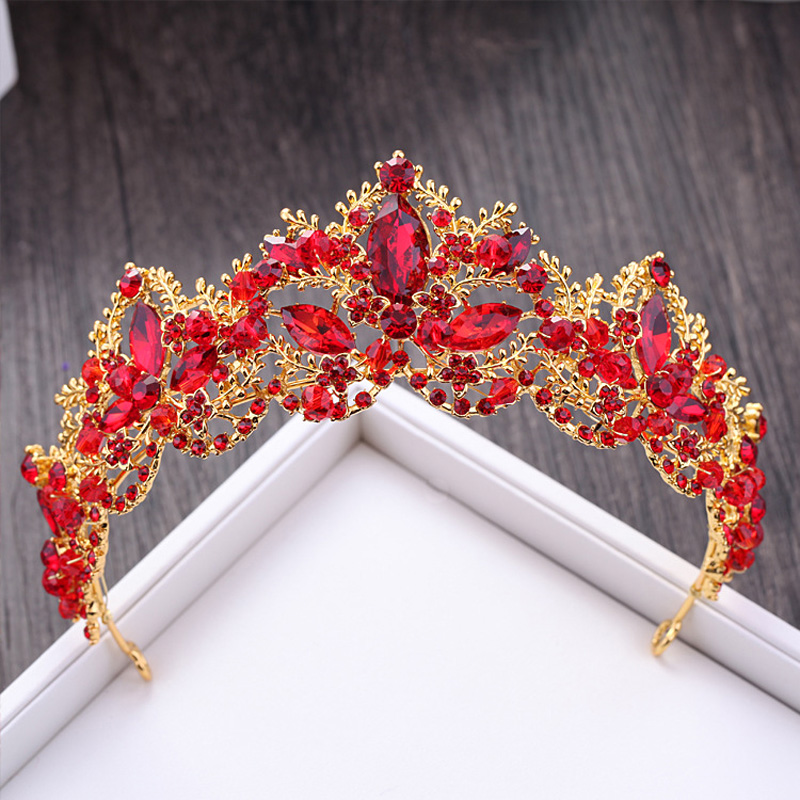 KMVEXO Luxury Red Rhinestone Bridal Tiara Crown Vintage Gold Baroque Crystal Diadem for Brides Headband Wedding Hair Accessories