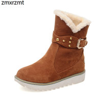 2019 women fashion ankle snow boots 3cm low heel women shoes to keep warmin winter party shoes it`s black beige and brown