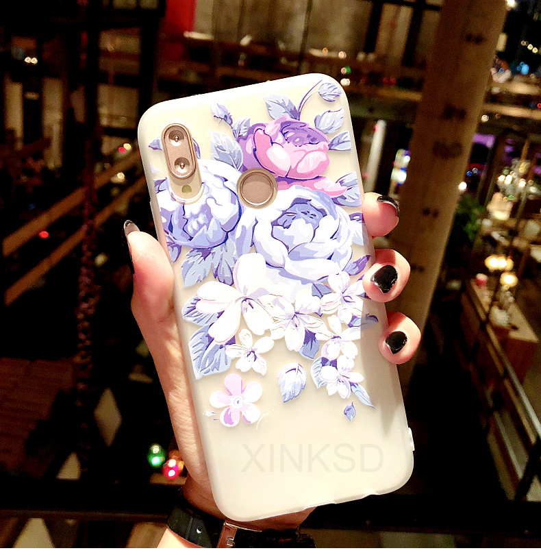 3D Relief Flower Phone Case For Huawei Y6 Y7 Prime Y9 P20 P9 P10 Lite TPU Silicone Case On Honor 7C 7X 7A Pro 10 9 Lite 20