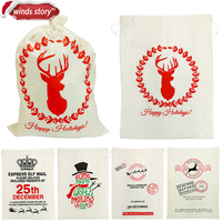 1Pcs Santa Claus Gift Sack Canvas Christmas Gift Bags With Drawstring Tie 19 7 X27 6