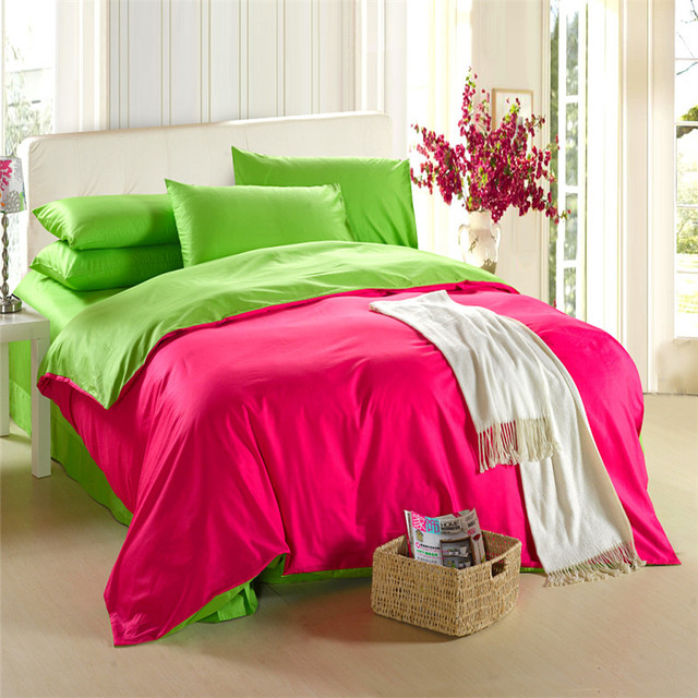 Charmant 100% Natural Cotton Euro Double Size Solid Color Bedding Sets Bright Color  Green, Yellow
