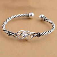 925 Silver Ball Rope Bangle Fashion Vintage Open Size Diameter 56mm 100 S925 Sterling Silver Bangles