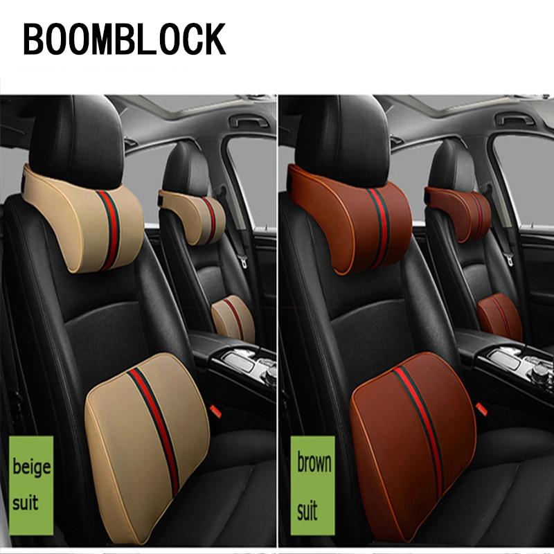 BOOMBLOCK Car Neck Head Pillows Seat Support Cushion Covers For Mercedes W204 W210 AMG Benz Bmw E36 E90 E60 Fiat 500 Volvo S80