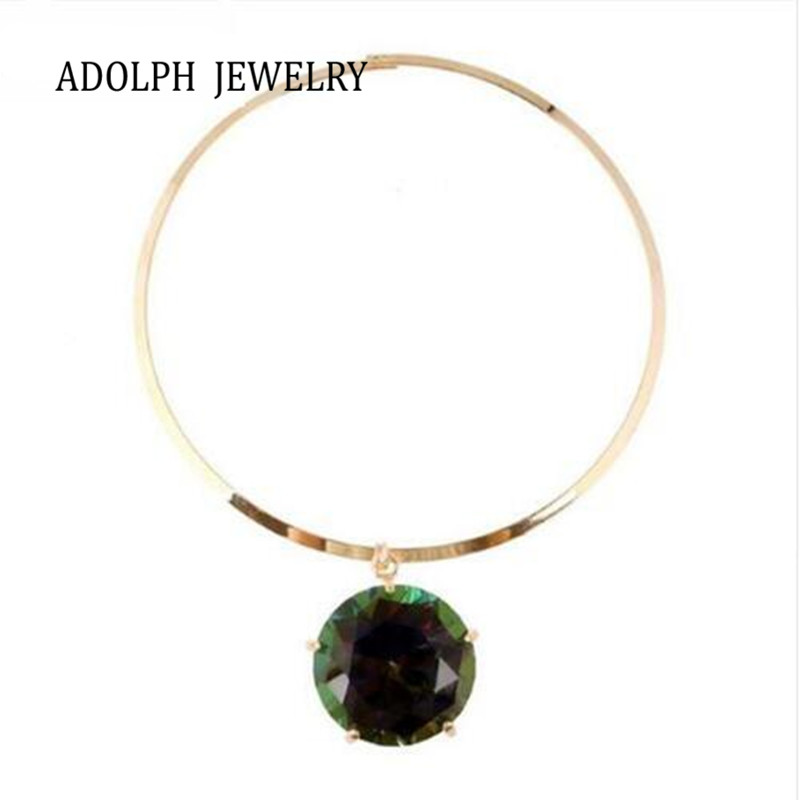 ADOLPH Jewelry Wholesale 2016 New Design Vintage Big Green Gem Statement Necklaces & Pendants For Women Hot Sale