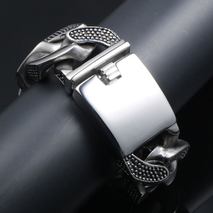 Image 4 - 31MM Wide Heavy Metal Bracelet Men Male Casting Solid Stainless Steel Chain Link Mens Bracelets Massive Biker Rocker Jewelry Man