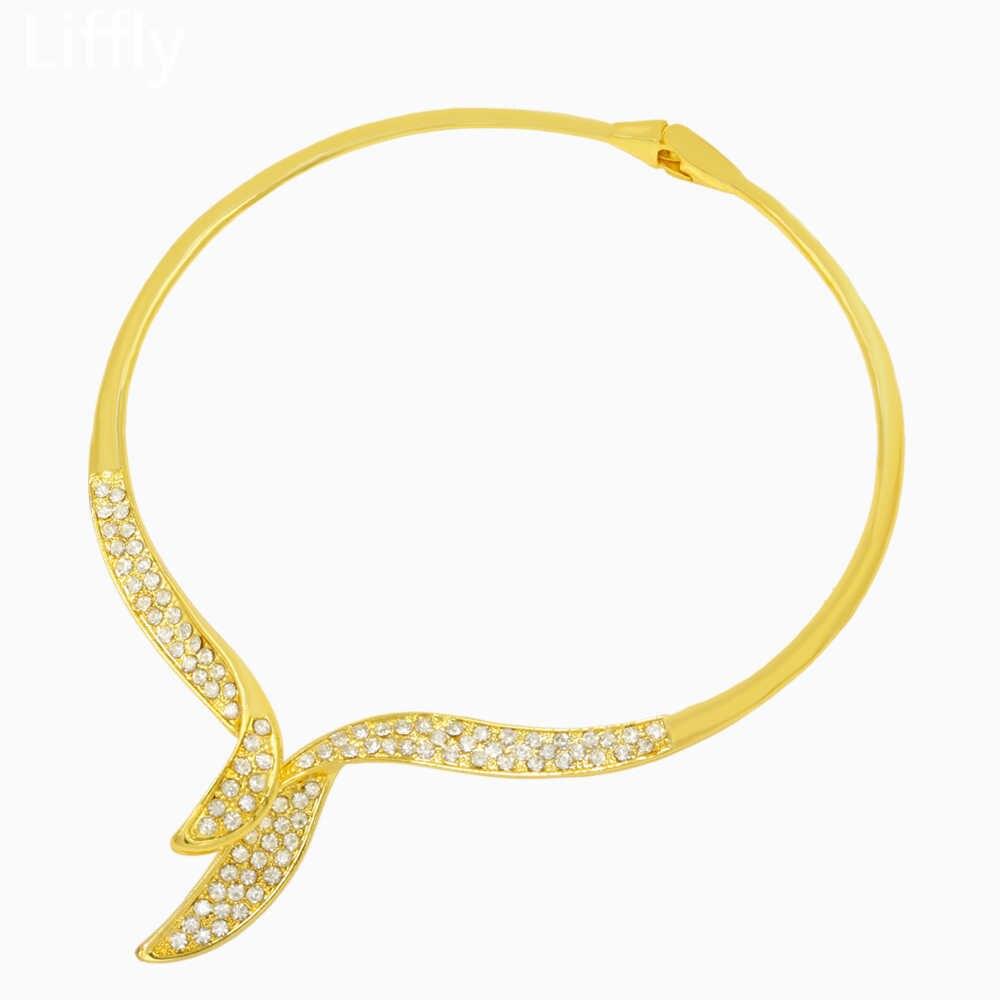 Liffly Neue Mode 2019 Dubai Gold Schmuck Sets für Frauen Kristall Halskette Ring Ohrringe Hochzeit Engagement Schmuck Geschenk
