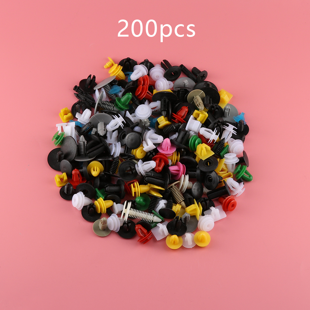 200Pcs Universal Mixed Auto Fastener Car Bumper Clips Retainer Car Fastener Rivet Door Panel Fender Liner for all car(China)
