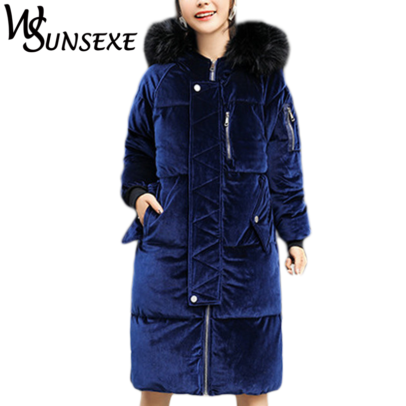 2017 Winter Fashion Velvet Parkas Jacket Coat Women Fur Collar Hooded Down Cotton Outwear Female Thick Warm Long Zipper Overcoat women winter coat leisure big yards hooded fur collar jacket thick warm cotton parkas new style female students overcoat ok238