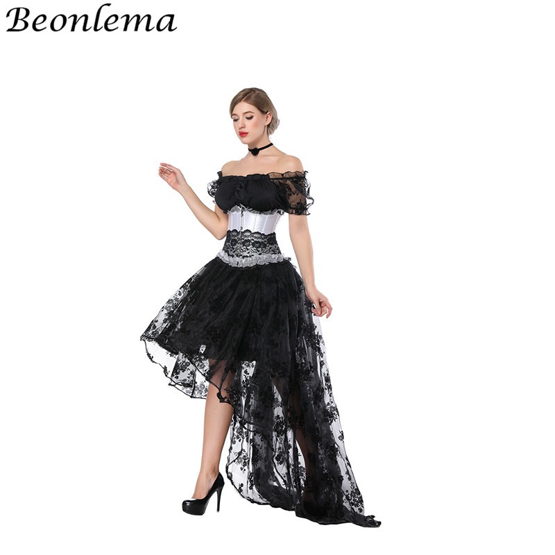 Beonlema Sexy Underbust   Bustier   Transparent Lace   Corset   Bra Off Shoulder Top Short Sleeve Separate Gorset Dress Set Long Skirt