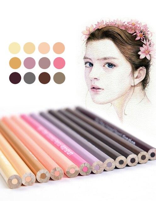 12Pcs Skin Tones Wooden Colored Pencils Set Oil Based Pre sharpened ...