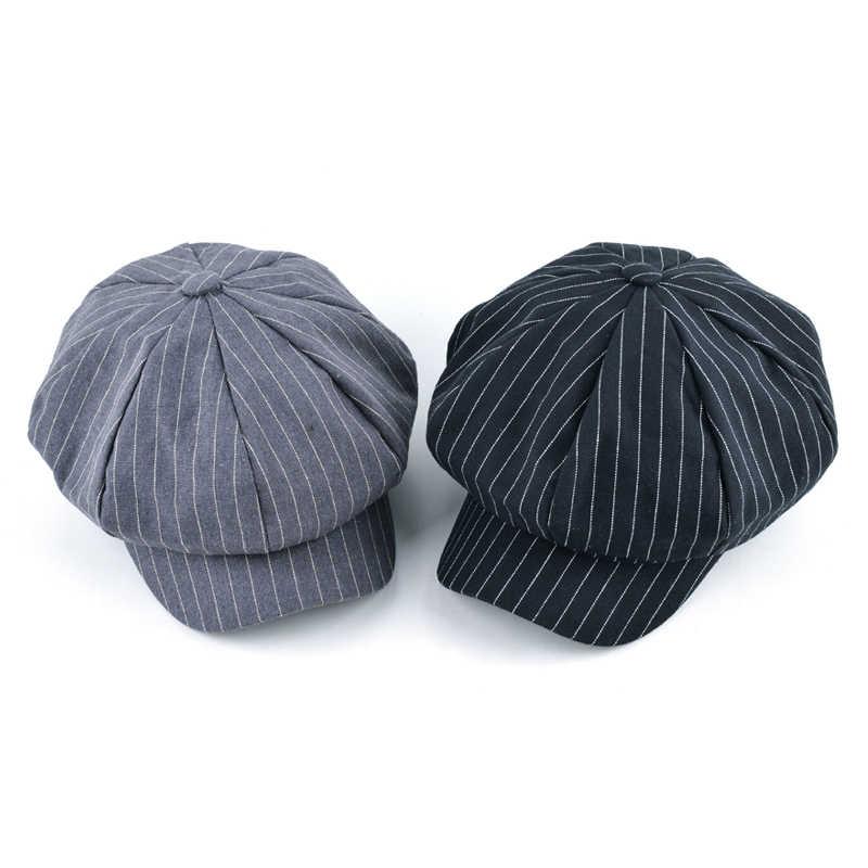 2017 Ilkbahar ve sonbahar erkekler newsboy kap kız sekizgen şapkalar kadınlar için bere şapka kemik kadın çizgili vintage kapaklar chapeu feminino