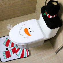 Toilet Foot Pad Seat Cover Cap 3 Pcs Christmas Decorations