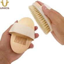 Купить с кэшбэком 100pcs/lot Boar Bristle Bath Brushes Body Brush Customized LOGO Wooden Handle Body Cleaning Brush for Shower Promotional Gift