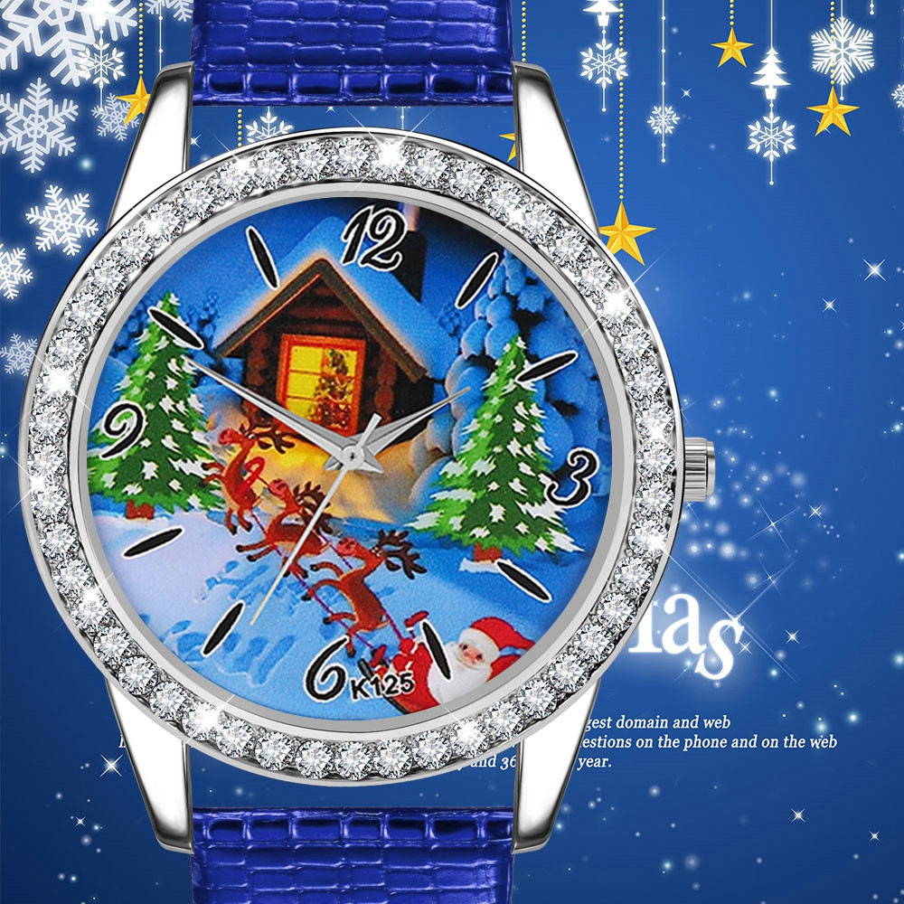 Watch Women Men Kid's Christmas Watches Gift Santa Claus Pattern Leather Band Analog Quartz Vogue Watches Montre Femme Clock #W