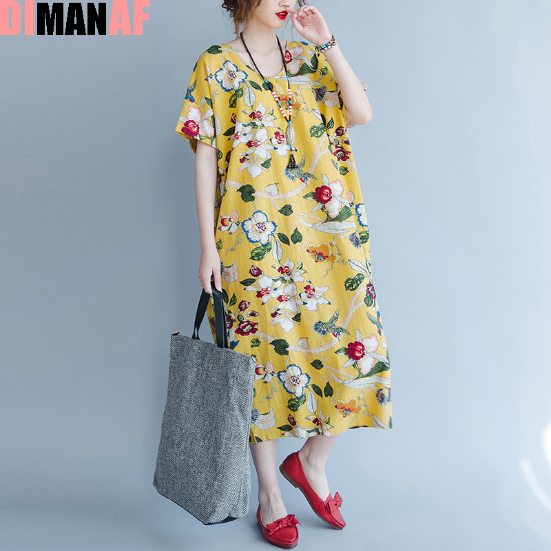 US $16.77 35% OFF|DIMANAF Plus Size Women Summer Dress Floral Print Linen  Female Casual Fashion Long Yellow V Neck Loose Vintage Hawaiian Dresses-in  ...