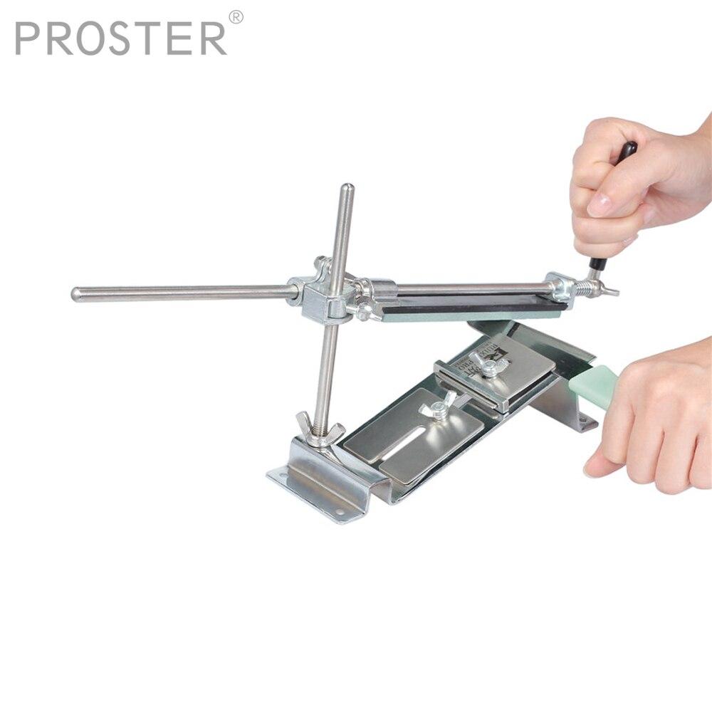 Proster Pro aiguiseur de couteaux professionnel acier inoxydable cuisine système d'affûtage outils Fix-angle avec 4 pierres Whetstone