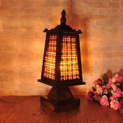 TUDA 15X42cmThailand drewna bambusa tkania lampa stołowa Hotel oświetlenie kreatywny proste drewniane biurko lampa E27 110 V 220 V w Lampy stołowe LED od Lampy i oświetlenie na