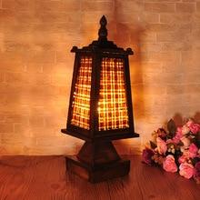 TUDA 15X42cmThailand wood bamboo weaving Table Lamp Hotel Lighting Creative Simple Wooden Desk Lamp E27 110V-220V